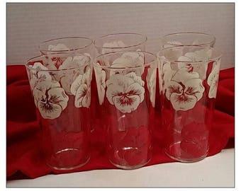 """Set of 6 Vintage Kraft  Swanky Swigs  4 7/8"""" Peanut Butter Glasses"""