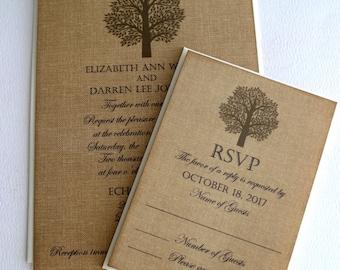 Elegant Romantic Vintage Wedding Invitations on Burlap Background with Rustic Tree Handmade by avintageobsession on etsy
