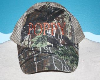 Poppy Baseball Hat - Gift for Poppy - Baby anoucment gift - Camo Poppy - Grandpa basebase ball cap - grandpa baseball cap - Poppy Gift