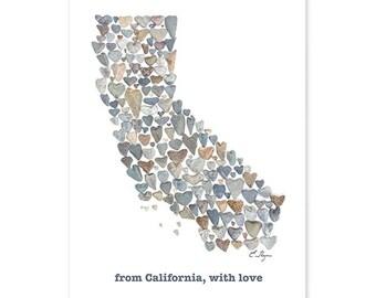 California card, California state map, California wedding, California engagement, California love, California gift, love rocks pebble art