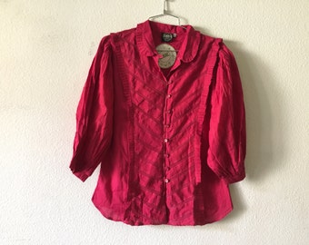 Vintage Blouse - Cotton Puffy Sleeve