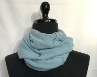 Infinity Cashmere Wool Scarf made from Smokey Blue Upcycled  Sweater