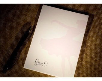 Ballerina Personalized Notepad - Dance Notepad - Personalized Notepad -   Ballerina Dancer Notepad