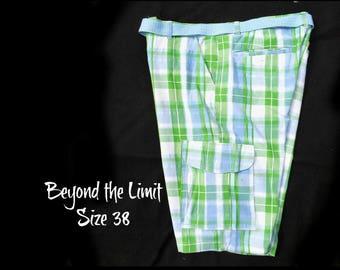 men's summer shorts - plaid cargo shorts, men's golf shorts, men's plaid summer shorts,   men's p;aid preppy shorts, size -38 shorts, # 39