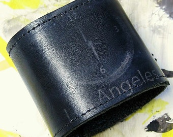 Black Leather Wrist Wallet Cuff with Secret Zippered Pocket--Vapor of Time Zones Sydney, Los Angeles, New York