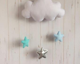 Felt Baby Mobile,Baby Gift,cloud, felt cloud, Baby Shower, cloud mobile