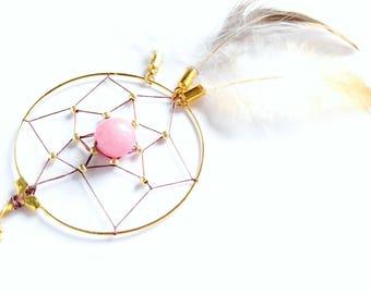 Rose quartz dream catcher pendant necklace