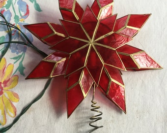 Gorgeous Vintage red star tree topper Christmas