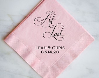 Personalized At Last Wedding Napkins, Custom Wedding Napkins, Personalized Napkins, Wedding Favors, Custom Printed Napkins