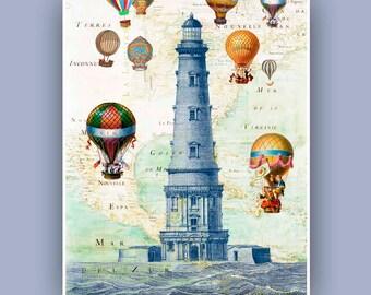 Vol en montgolfière à l'épreuve phare, Fantasy collage décoration chalet de Vintage images, vieux N. E. carte de l'Amérique, plage, vie côtière