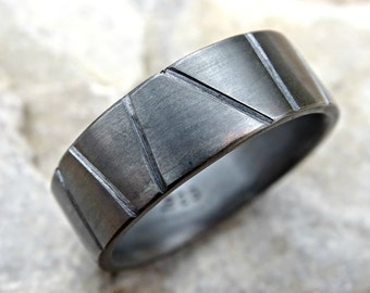 mens wedding band industrial, cool mens ring black silver promise ring men, mens engagement ring silver, architectural ring silver geometric