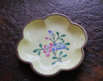 vintage brass enamel catchall trinket dish