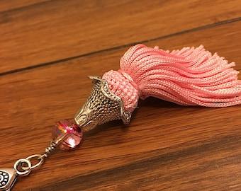 Pink tassel, pink zipper pull, tassel zipper pull, zipper pull tassel, pink fringe tassel, bag tassel, tassel for bag, purse tassel clip