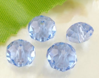 x 20 Crystal beads 8 mm light blue faceted glass