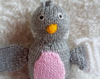 Knitted Toy Bird / Stuffed Animal / Baby Shower Gift / Wool Plush Toy / Stocking Filler / Grey