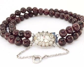 Antique vintage Art Deco beaded bracelet, garnet with sterling silver rhinestone clasp