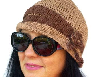 """Women's Crochet Hat: """"BEIGE BROWN HAT"""" Girl Crochet Hat , women beanie, women hat beanie, skull caps beanies A66"""