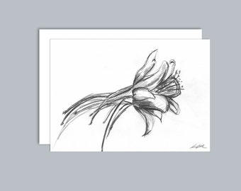 Illustrated Aquilegia flower A6 greeting card- Design 3