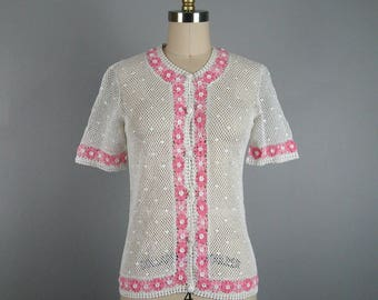 Vintage 1950's-1960's Crochet Blouse 50s 60s White and Pink Delicate sheer Crochet Size M