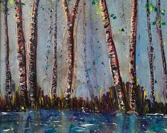 Stillwater Sherwood, a mixed media abstract painting on paper