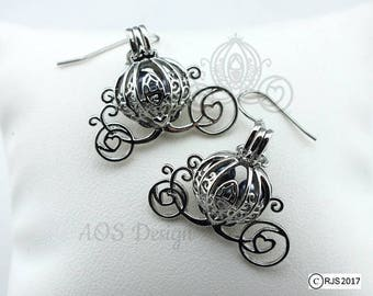 Pick A Pearl Cage Silver Plated Cinderella Carriage Earrings BLUE Bead Pearl Pumpkin Locket Charm