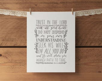 Trust in the Lord with all your heart print - Proverbs 3:5 print - hand lettered 8x10 print
