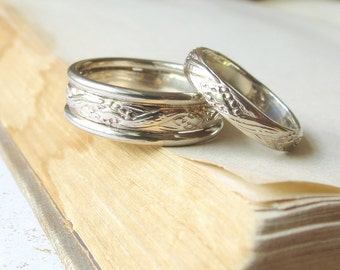 Boho White Gold Wedding Band Set Matching Wedding Bands His and Hers Patterned Rings 14kt white gold Vintage Style wedding bands