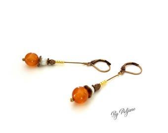 Orange stone earrings fine carnelian - earrings pearls fine orange carnelian - BY POLJANE