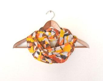 Cotton Cowl Scarf Camouflage Print Vintage Sheer Fabric Infinity Scarf Eco Friendly Orange Yellow White