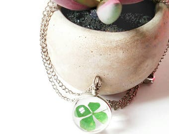 Four Leaf Clover Necklace~Lucky Necklace~St. Patrick's Day Necklace~Real Clover~Clover Pendant Necklace~Luck of the Irish~Gift for Boyfriend