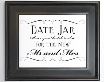 Date Idea Jar Sign Wedding Decor Printable DIY Digital File PDF Signage Do it Yourself 8x10 5x7 4x6 Fancy