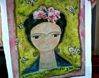 Frida y sus Trenzas - Large Print on Fabric  (16 x 20 inches) by FLOR LARIOS
