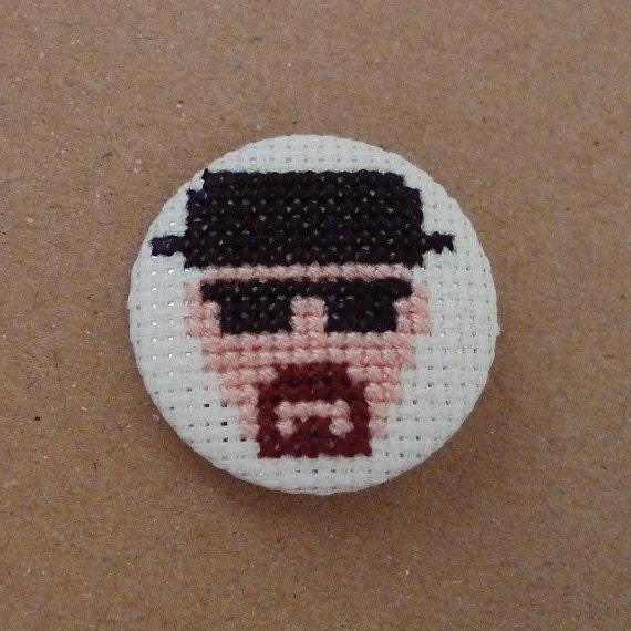 Breaking Bad cross stitch 31mm pinback button - Heisenberg - Embroidered geek brooch