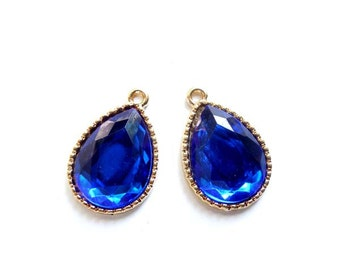 2 Gold Plated Teardrop Blue Resin Charms - 21-41-6
