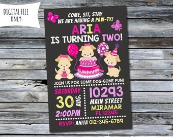 Girls Puppy Invitation / Puppy Birthday Invitation / Dog Invitation (Personalized) Digital Printable File