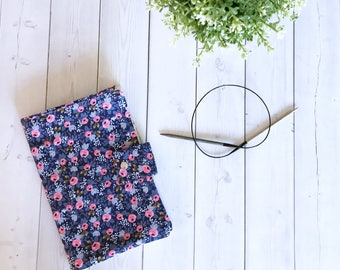 Circular Needle Case/Knitting Needle Case/Fixed Needle Case/Knitting Needle Organizer-Made To order-Rosa in Navy