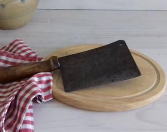 Old leaf butcher signed Goldenberg France, meat grinder, meat Cleaver