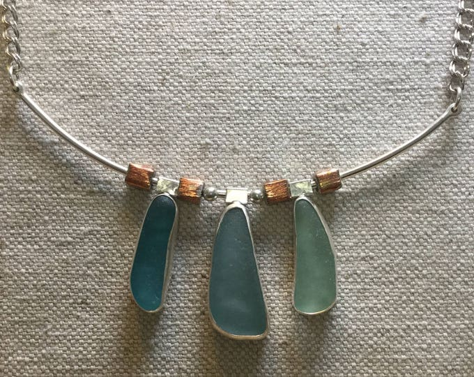 Blue green Seaglass and sterling silver signature necklace