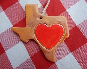Texas Ornament, Texas Christmas Ornament, Texas Heart, Love from Texas