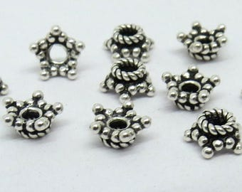 10 Pieces 925 Sterling Silver Star Bead Cap 6mm