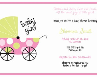 Pink and Green Baby Carriage Baby Shower Invitation