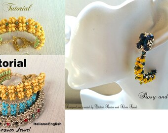 """Bangle """"Crown Jewel and Rosy and Silvia Earrings"""" Beading PDF (Tutorial graphics images and with  photos in Italiano or English)"""