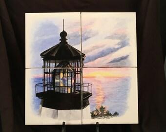 Lighthouse Wall Tile Mural Hand Painted By Artist Christie Hartman, Kitchen Wall Art, Item# 75149261