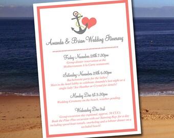 "Beach Wedding Itinerary Template - Wedding Planner ""Anchor Love""  Coral Reef Smoke Destination Wedding Coordinator Wedding Guest Gift Basket"