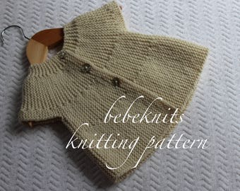 Bebeknits Easy European Summer Baby Cardigan Knitting Pattern