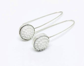 Sterling silver and porcelain contemporary earrings