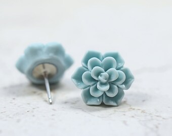 Mint Blue Succulent Earrings, Botanical Jewelry, Pale Minty Blue Echeveria Plant Lovers Garden Gift Ideas, Succulent Obsession, Succy Love