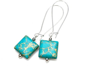 Imperial Jasper Earrings Aqua Blue Silver Dangles Country Chic Turquoise Southwest Rustic Shabby Boho Chic Summer Color by Mei Faith