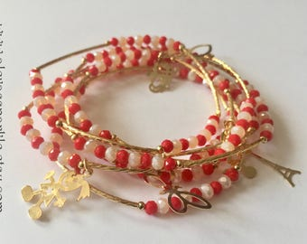 Red & White beaded bracelets with gold plated charms - Semanario combinacion rojo y blanco con dijes de chapa de oro
