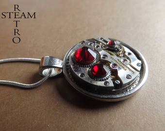 Steampunk necklace - Clockwork suspended and Red Siam Swarovski crystals - Steampunk jewelry by Steamretro